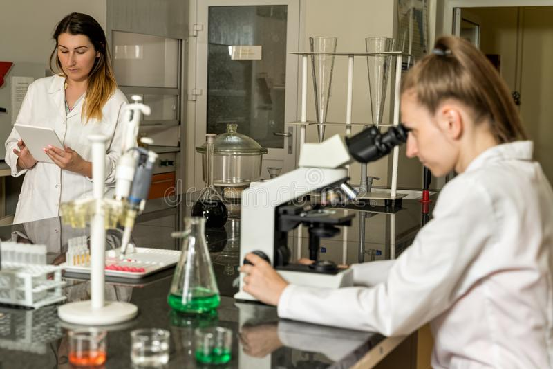 Team of two female laboratory technicians working in chemical or pharmaceutical laboratory stock photo