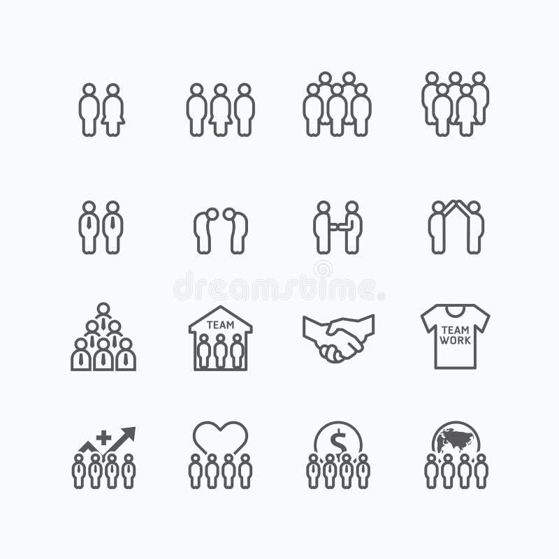Team und flache Linie Designvektorsatz der Geschäftsschattenbildikonen stock abbildung