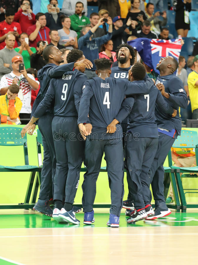 Team United States celebrates victory after group A basketball match between Team USA and Australia of the Rio 2016 Olympic Games. RIO DE JANEIRO, BRAZIL stock image