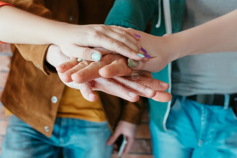Team unity hands together collaboration teamwork royalty free stock photo