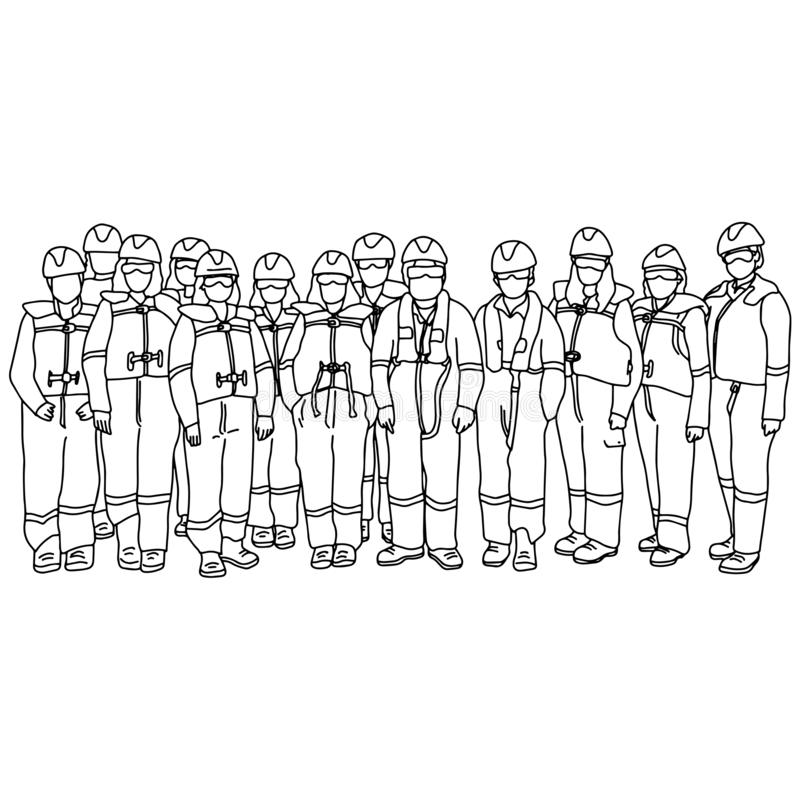 Team van de arbeidersmens en vrouw in de beschermende hand van de de schetskrabbel van de kostuums vectordieillustratie met zwart stock illustratie