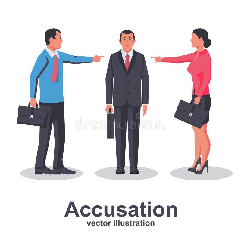 Team van de vinger van het werknemerspunt bij schuldige persoon vector illustratie