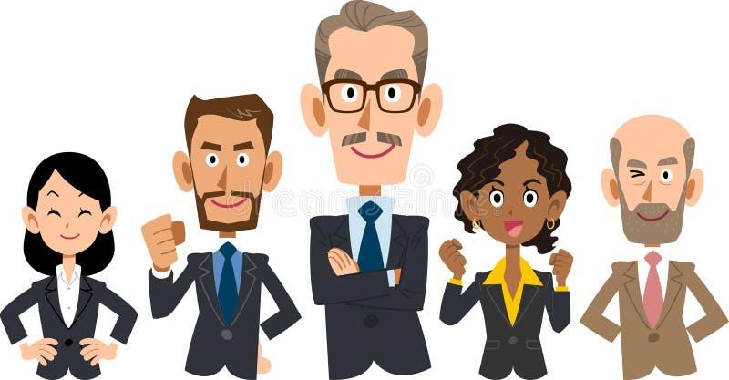 Team van diverse rassen commercieel _Hoger lichaam stock illustratie