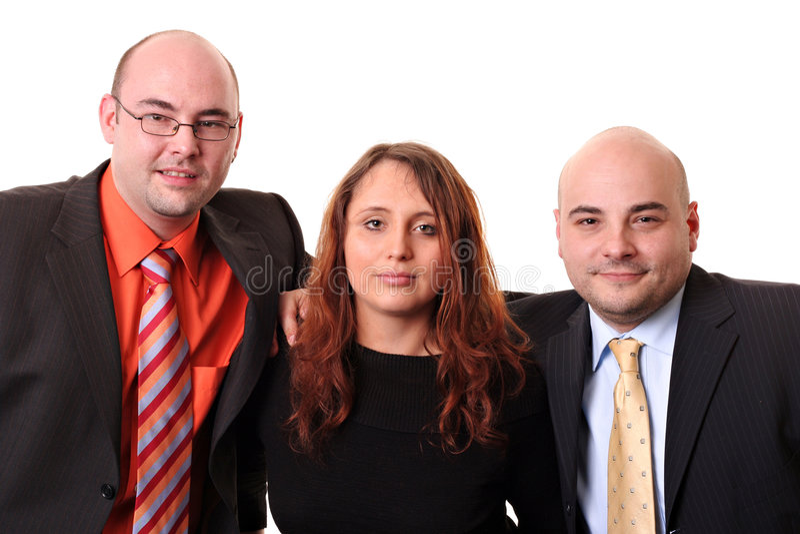 Team van drie dat op whit wordt geïsoleerd? royalty-vrije stock foto's