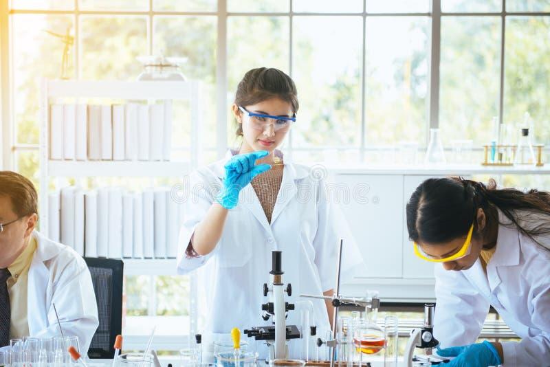 Team van jonge Aziatische vrouwenchemicus die voorbeeld en onderzoek toont nieuw project met mannelijke professor bij laboratoriu stock foto's