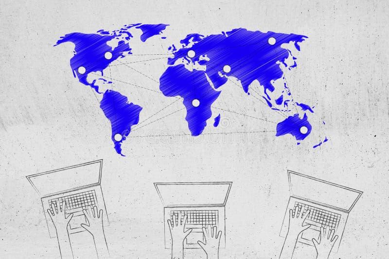 Team van laptop gebruikers met mondiaal net met hotspots boven stock illustratie