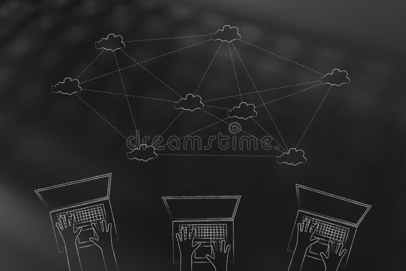Team van laptop gebruikers met wolk gegevensverwerkingsnetwerk boven hen stock illustratie