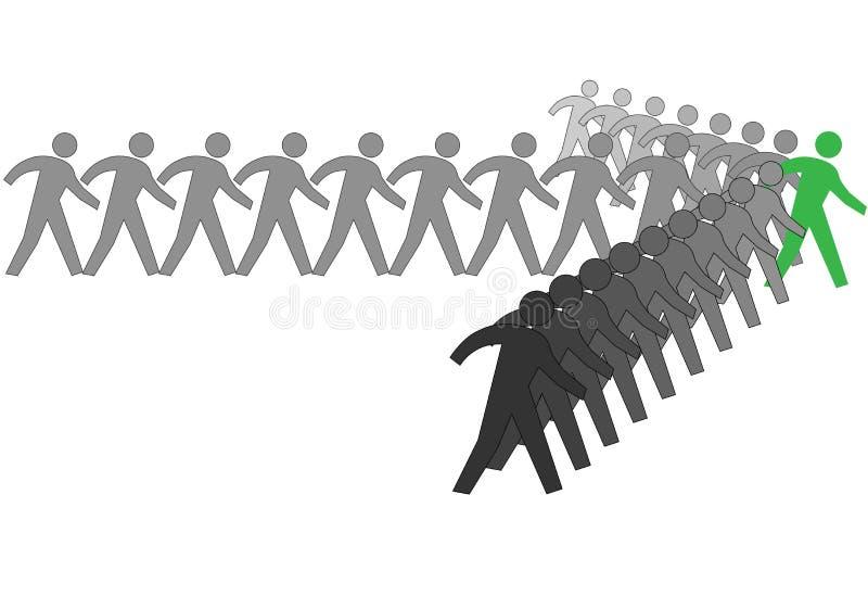 Team van mensen aan vooruitgangspijl achter leider vector illustratie