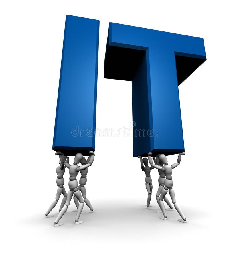 Team van Mensen die IT opheffen (Informatietechnologie) stock illustratie