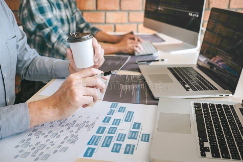 Team van Professionele de samenwerkingsvergadering van de Ontwikkelaarprogrammeur en brainstorming en programmering in website di stock afbeelding