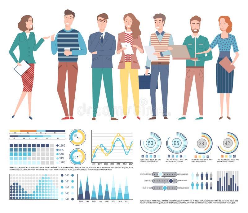 Team van Professionele Specialistenzaken, Grafieken stock illustratie