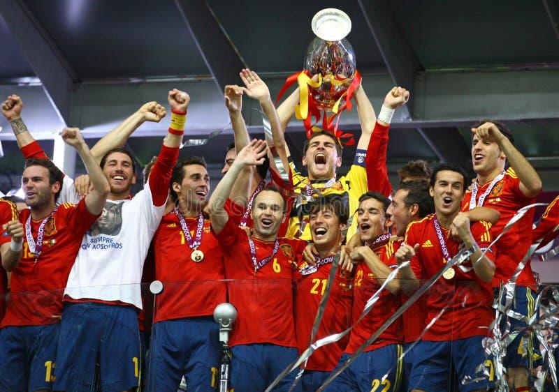 Team van Spanje, de Winnaar van de EURO 2012 Toernooien van UEFA royalty-vrije stock foto