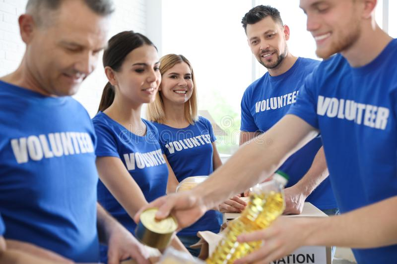 Team of volunteers collecting food donations stock image