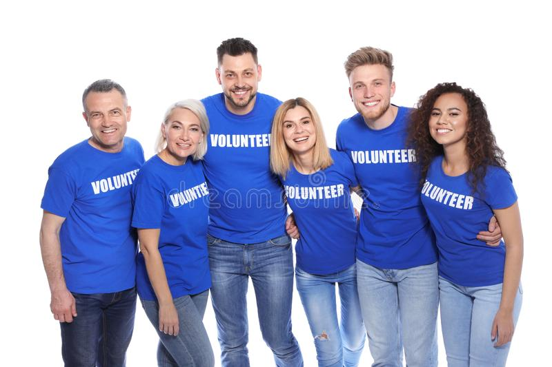 Team of volunteers in  on white background stock images