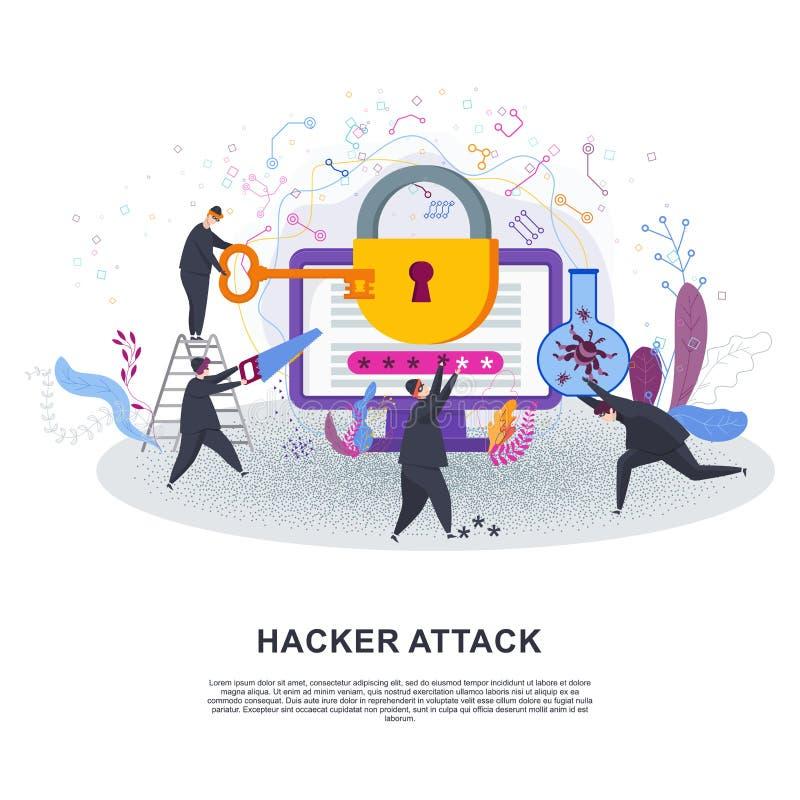 Team von Dieben zerhackt Zugangkennziffer zu den Informationen über den Computer vektor abbildung