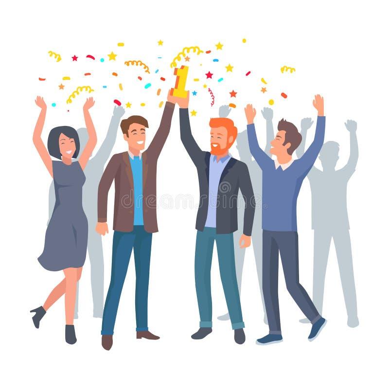 Team von Kollegen feiern Gewinn im Startvektor lizenzfreie abbildung