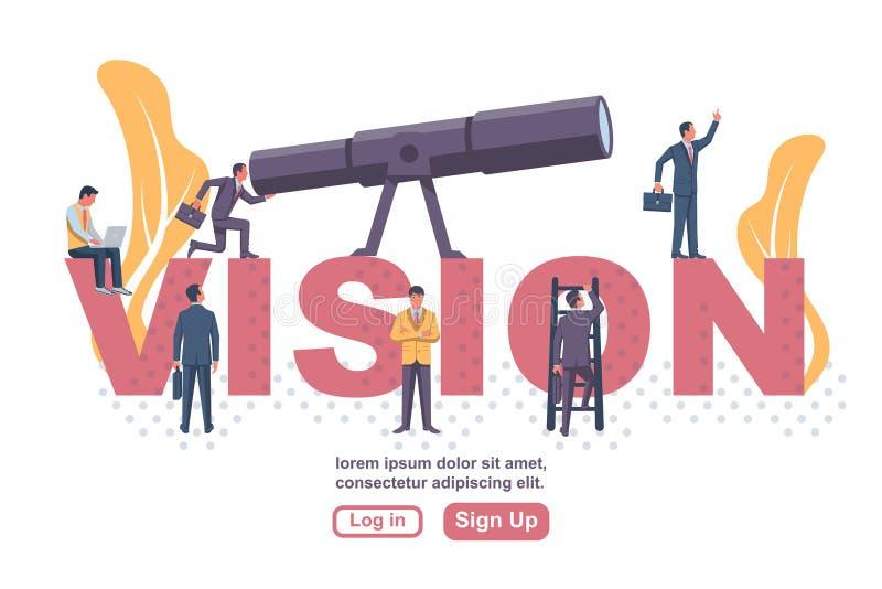 Team von Leuten, die in großen Briefen stehen und in großen Teleskop schauen lizenzfreie abbildung