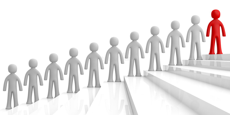 Team von weißen menschlichen Figuren auf Treppe, eine rote Zahl voran auf die Oberseite, weißen Hintergrund Abbildung 3D lizenzfreie abbildung