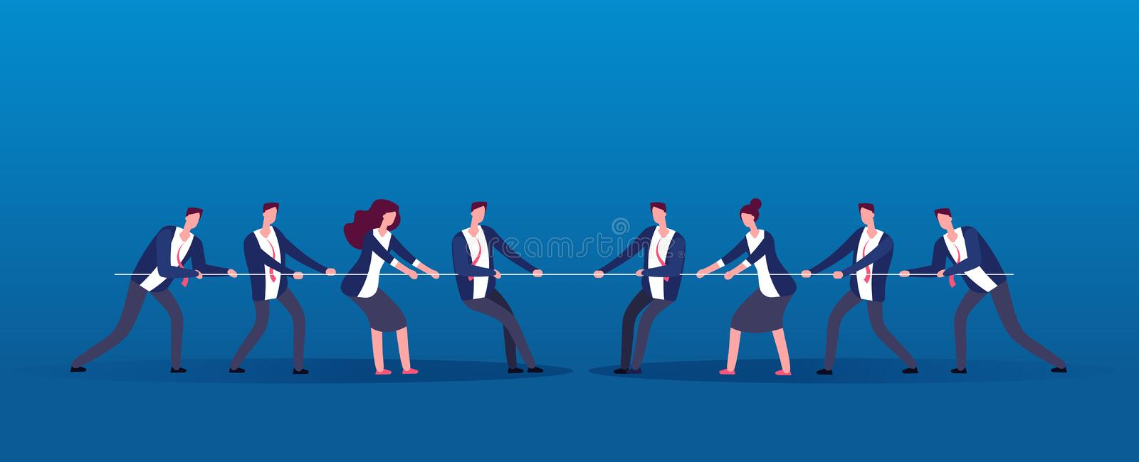 Team war. Business people rivals pulling rope. Competition, conflict in office vector concept. Illustration of people conflict in business team stock illustration