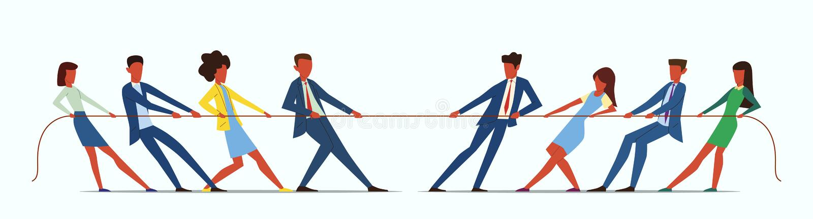Team war. Young people pulling rope, employees competition. Conflict in business team. Office management teamwork games. Vector fight power battle competitive vector illustration