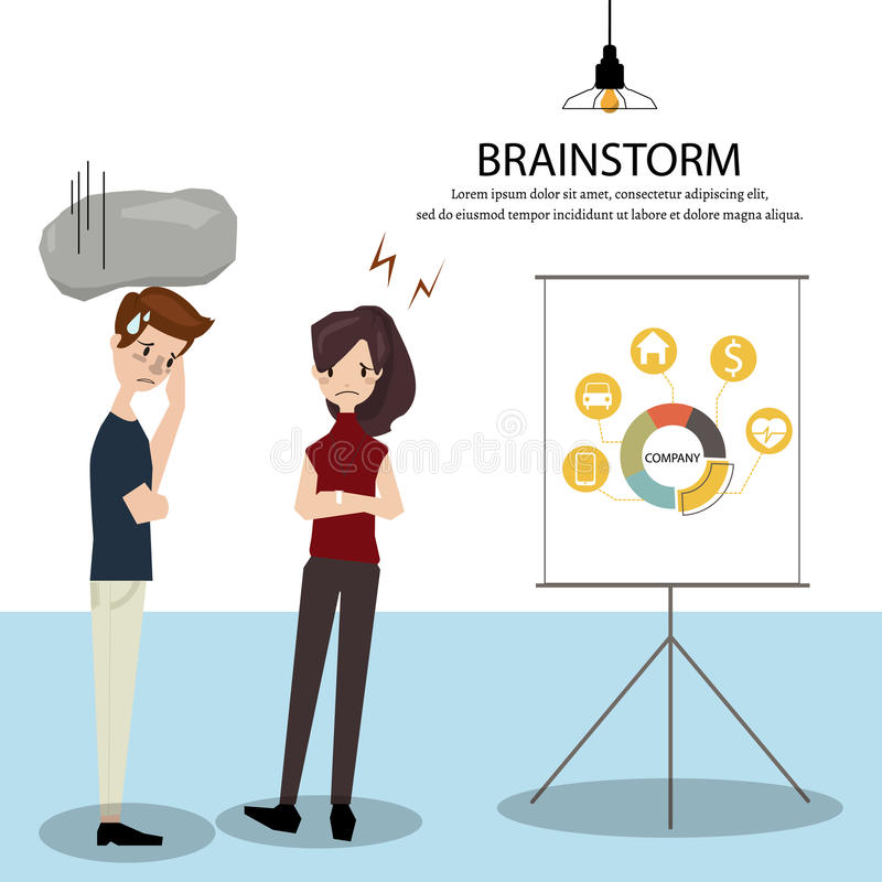 The team was brainstorming the presentation with difficulty.Employees can`t deliver on schedule. Vector/Illustration stock illustration