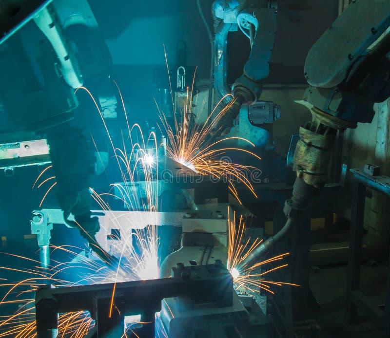 Team welding Robot royalty free stock image