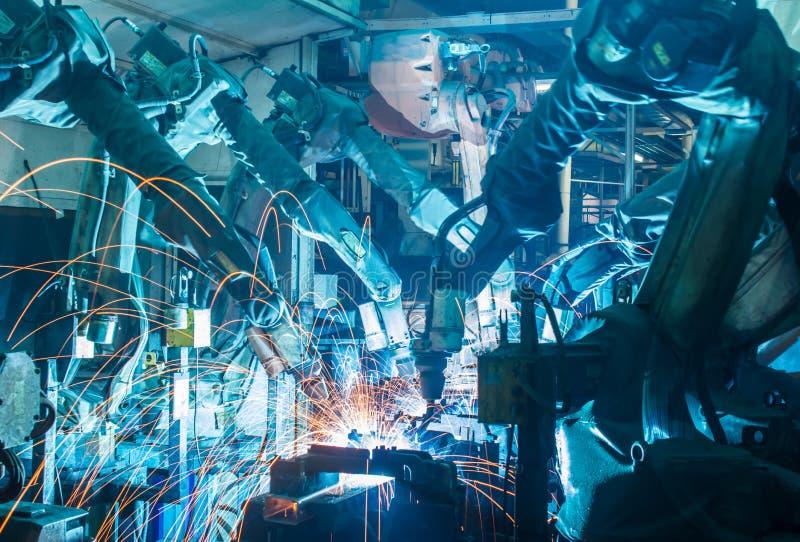 Team welding Robot stock image