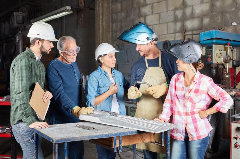 Team and welding trainees stock photography