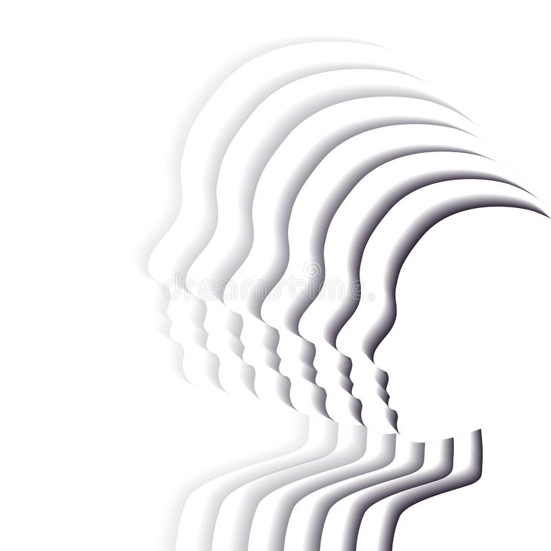 Team white people in profile. Layered paper cut illustration. Unity and recognition of orientation. 3d origami silhouettes. Vector stock illustration