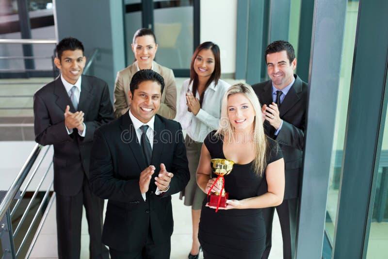 Team winning award royalty free stock photo