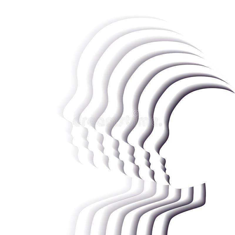 Team witte mensen in profiel Gelaagde document besnoeiingsillustratie Eenheid en erkenning van richtlijn 3d origamisilhouetten Ve stock illustratie
