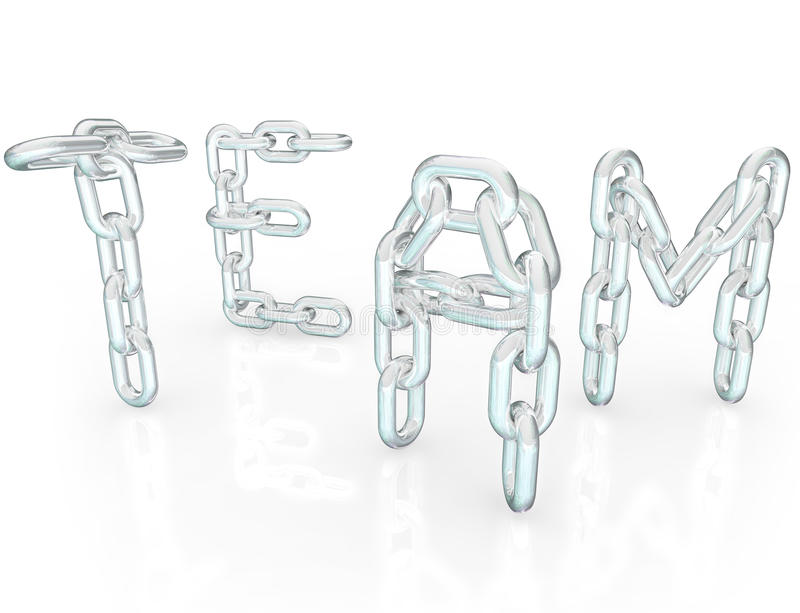 Team Word Chain Links Together Partners Royalty Free Stock Images