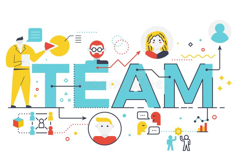 Illustrated team sign. An illustrated blue team sign with different icons on a white background stock illustration
