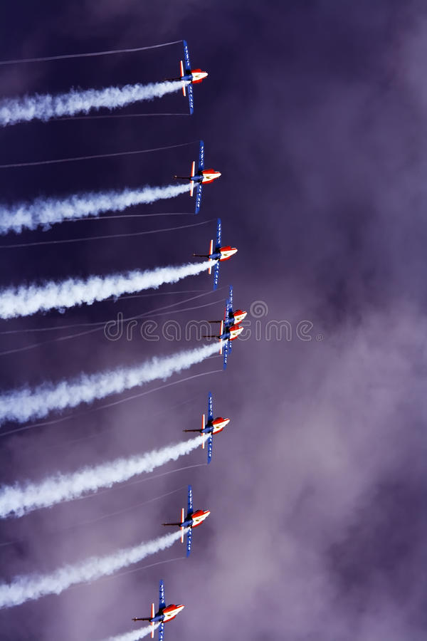 Team work. The fly by of Patrouille de France acrobatic aircraft team during the International Air Show on 28.08.2011 in Radom, Poland stock photography