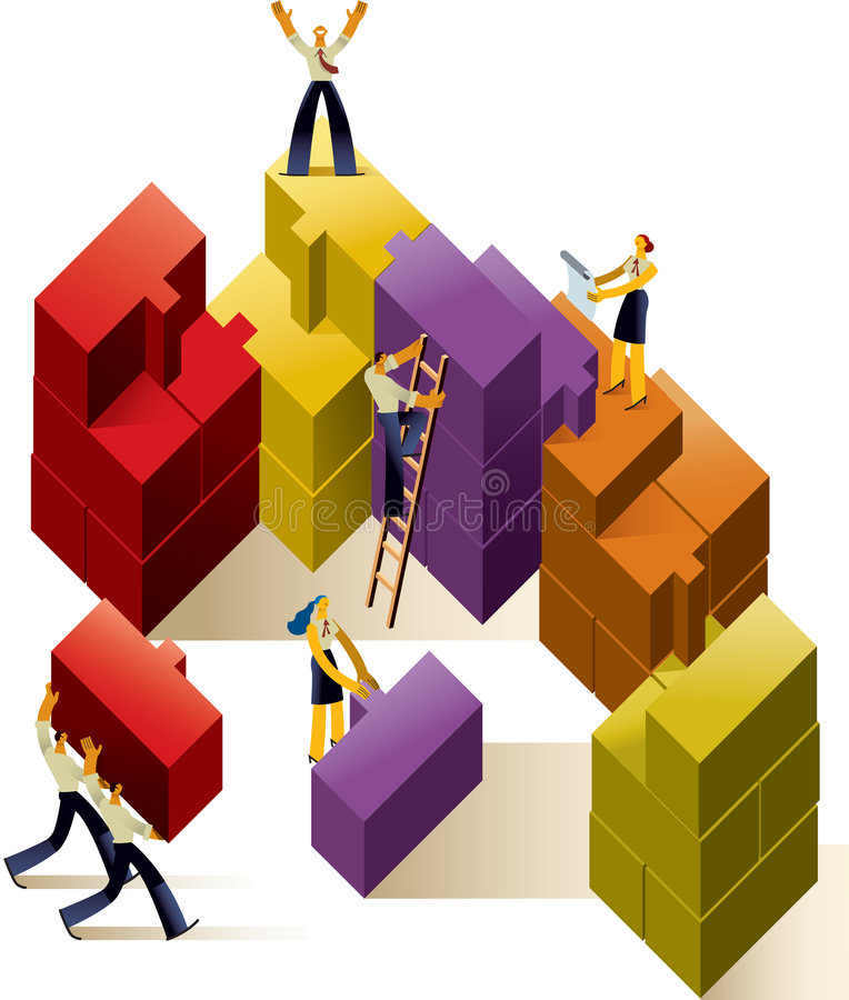 Team work. Colourful Illustration of a executive team working together to achieve a goal