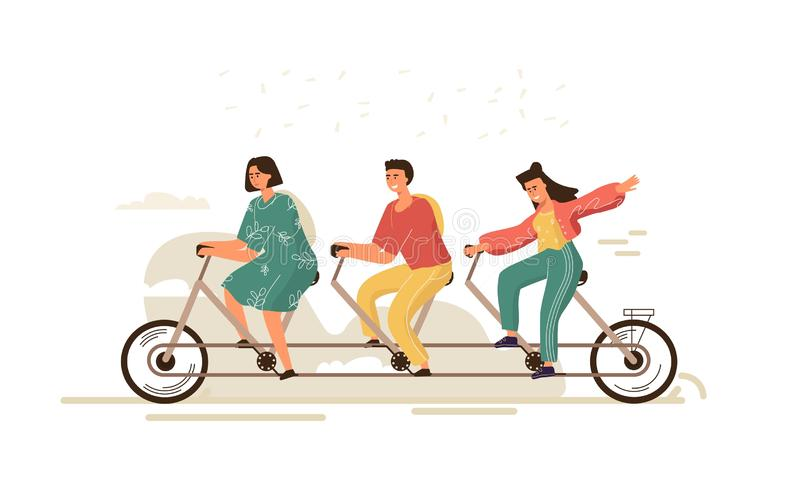Team work bike. Cartoon businessman characters on three-person bike, team building and cooperation concept. Vector vector illustration