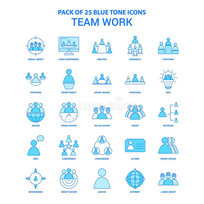 Free Team Work Blue Tone Icon Pack - 25 Icon Sets Royalty Free Stock Image - 131368366