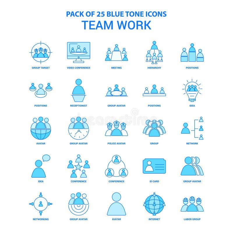 Team Work Blue Tone Icon-Satz - 25 Ikonen-Sätze stock abbildung