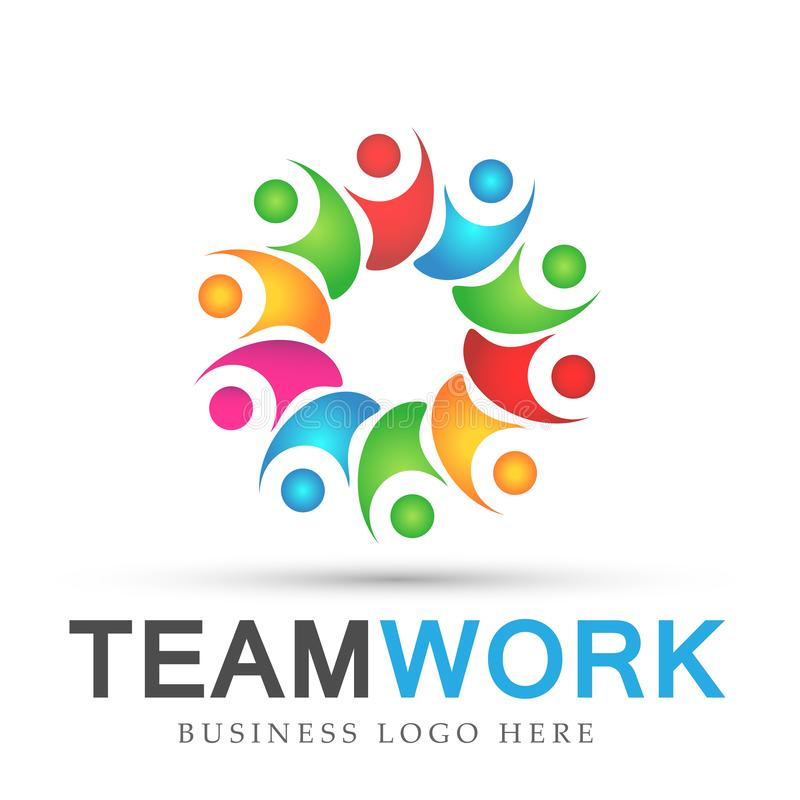 Team work in colorful logo partnership education celebration group work people symbol icon vector designs on white background. Ai10 illustrations for company or stock illustration