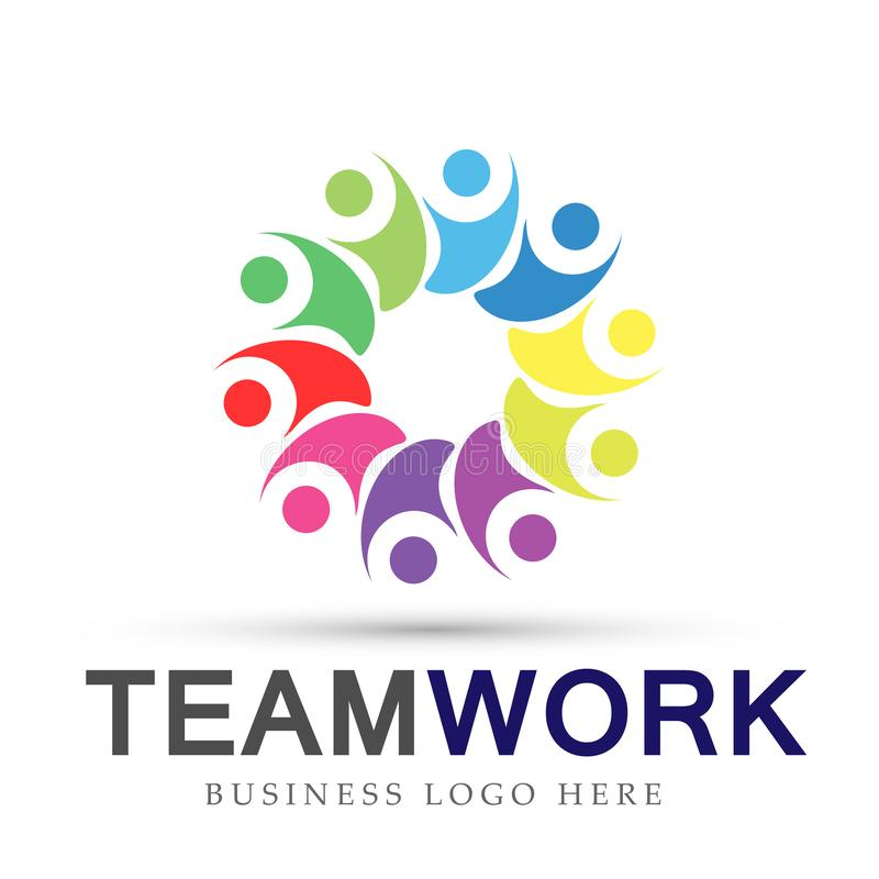 Team work in colorful logo partnership education celebration group work people symbol icon vector designs on white background. Ai10 illustrations for company or royalty free illustration