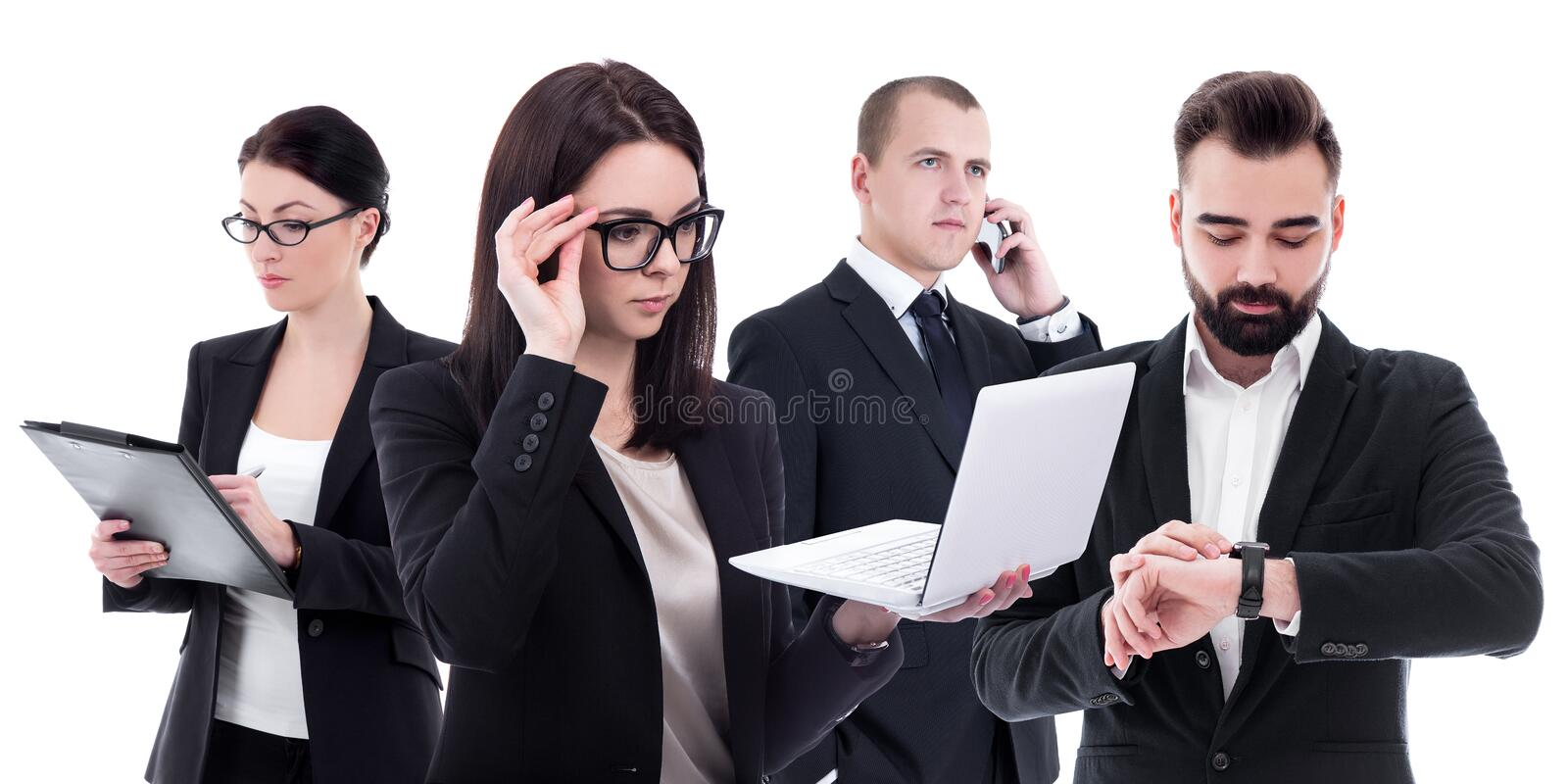 Team work concept - busy business people in business suits isolated on white stock photos