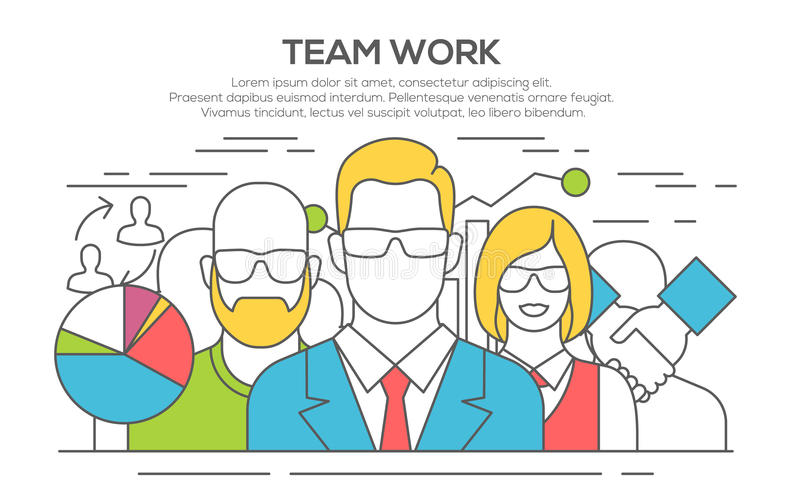 Team work concept flat line illustration. royalty free illustration