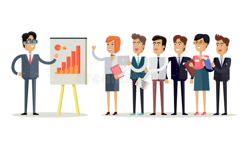 team work concept illustration flat design vector style office workers standing row front head which shows indexes 81636020 - 5 Hal Yang Harus Dibahas Ketika Meeting Team Bulanan