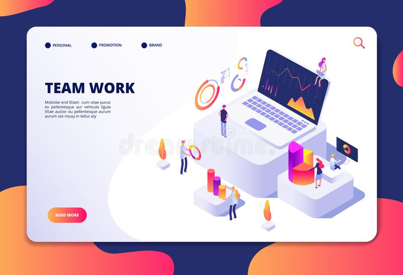 Team work concept. People work with finance charts and graphs. Business data analysis and optimization. Landing web page vector illustration