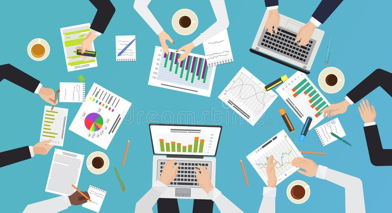 Team work concept. Top office desk view of brainstorming, business meeting. Hands with documents and laptops vector royalty free illustration