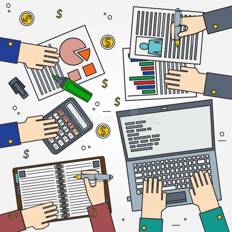 Team Work-de dunne lijn van het conceptenpictogram voor Web en mobiele, moderne mini royalty-vrije illustratie