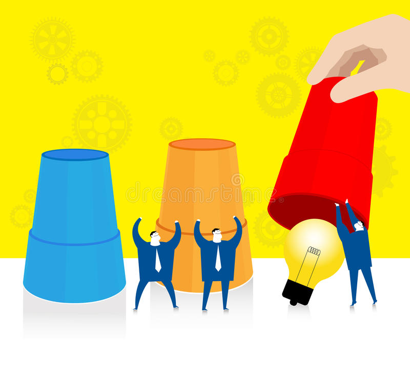 Team work : Finding the idea. Three businessmen collaborate to find the idea stock illustration
