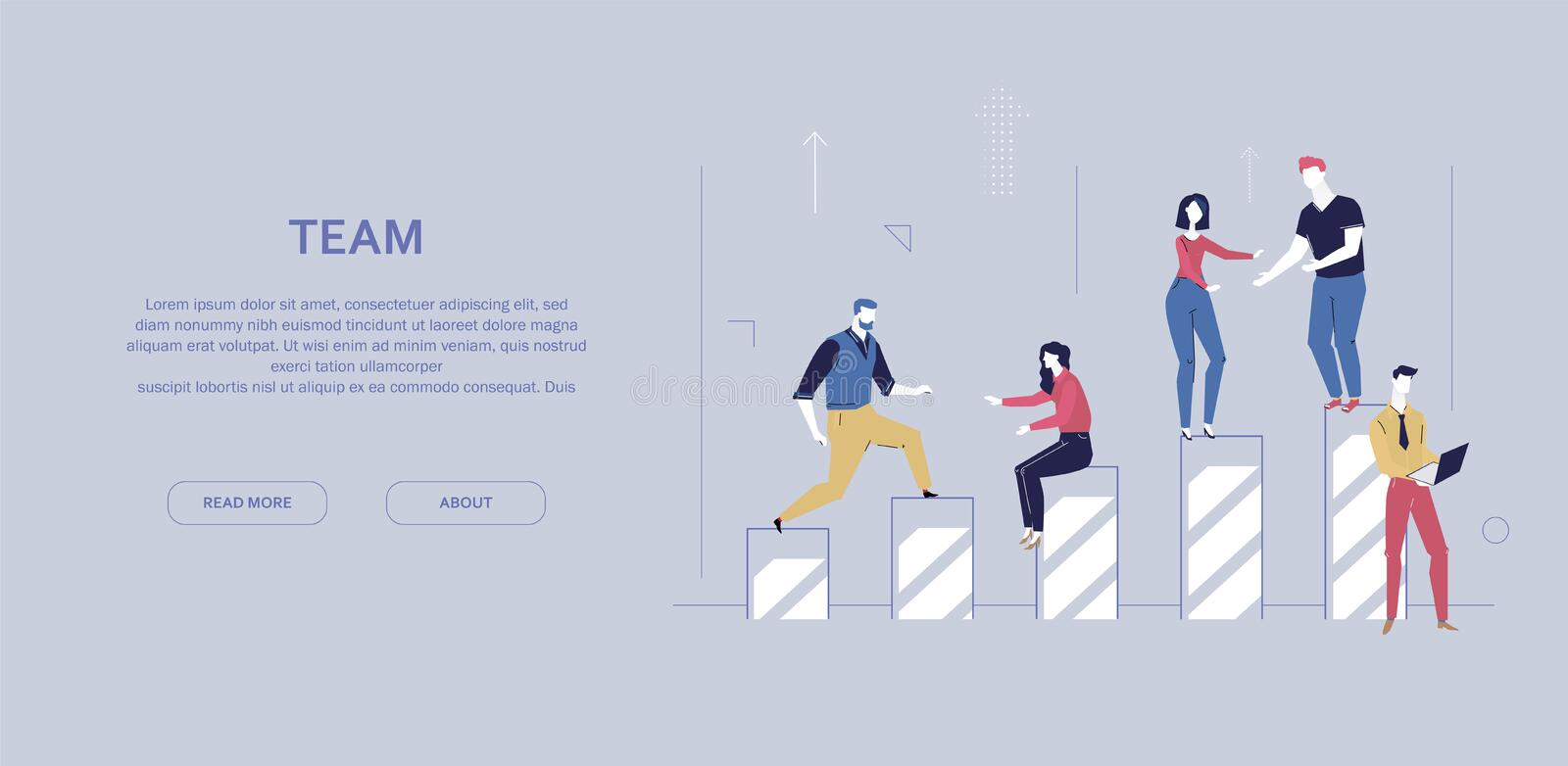 Team work - flat design style colorful banner. On gray background with copy space for your text. A composition with office workers, business people standing on royalty free illustration