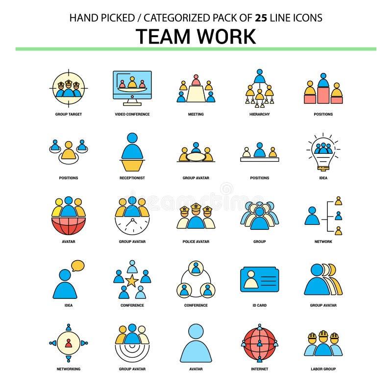 Team Work Flat Line Icon ställde in - affärsidésymboler planlägger royaltyfri illustrationer