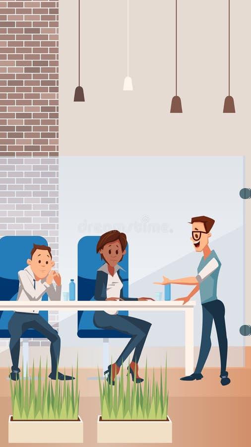 Team Work heureux au bureau cr?atif de l'espace ouvert illustration stock